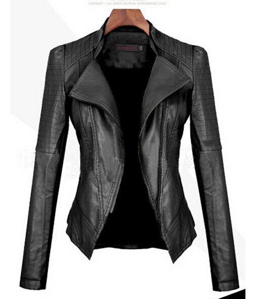 Turn Down PU Leather Womens Jacket