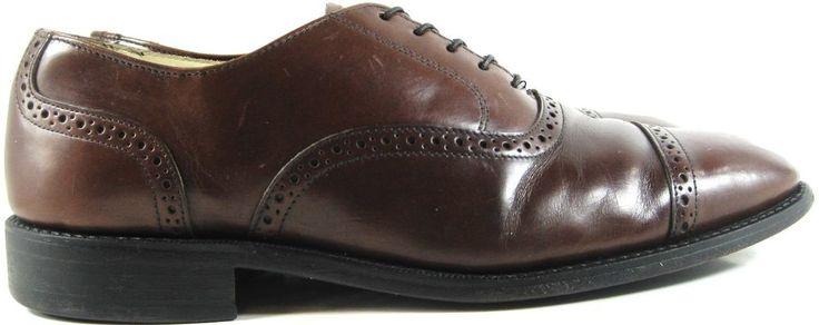 Bostonian Men Cap toe Oxford Leather Shoes Size 10 D/B Brown Made USA. ZZZ 37 #Bostonian #Oxfords