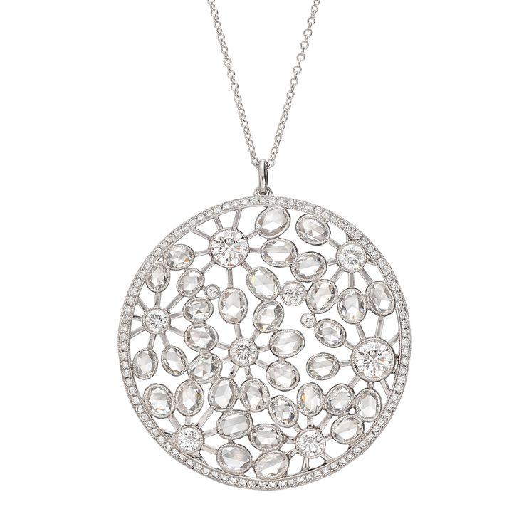 Estate Tiffany & Co. Large Diamond Foliate Pendant Necklace