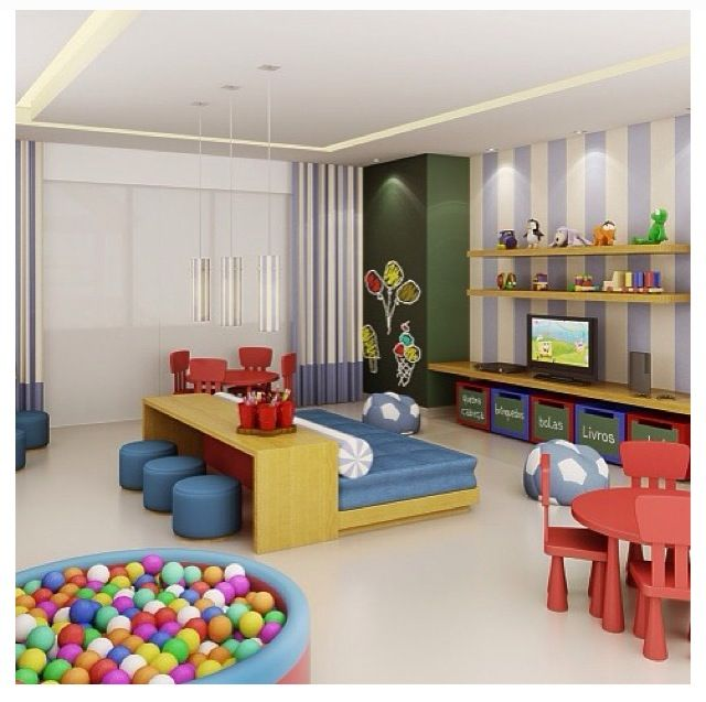 Playroom-- furniture in the middle