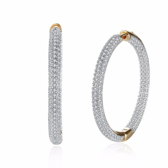 Lucky Deal $7.03, Buy Fashion Jewelry Circular Inlay Zircon Romantic Style Gold-Color large Hoop Earrings for Women
