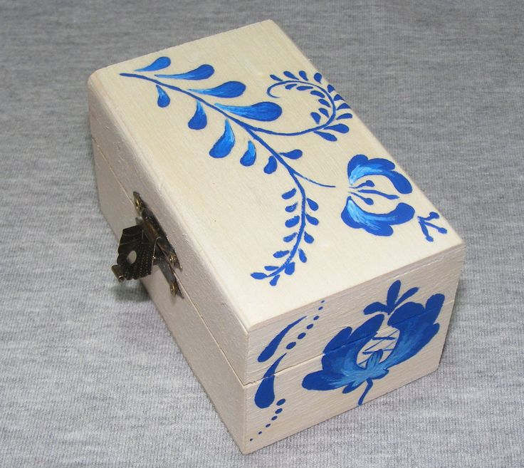 Russian Gzhel Folk Design Jewelry Wood Box, Artizan, Handmade, Handpainted by EmeseArtizan on Etsy