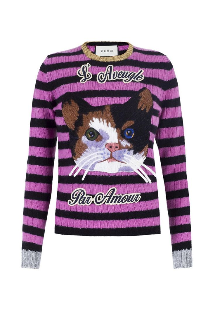 Gucci Cat Embroidered Black and Pink Striped Women's Sweater