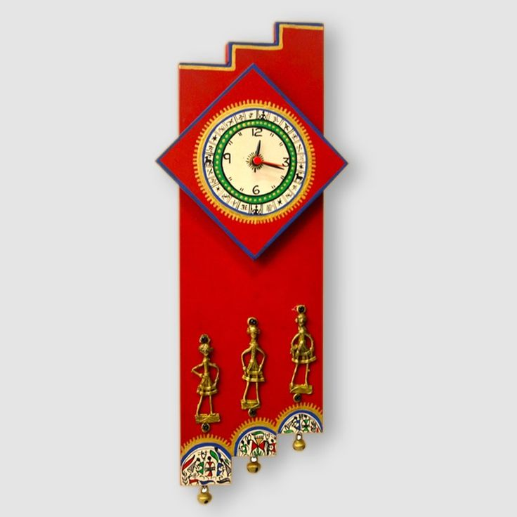 Warli Handpainted and Dhokra Work Zigzag Clock 16*7 Inch Red | #simple #Clocks&Timepieces #Decor #simple, #Clocks&Timepieces, #Decor,