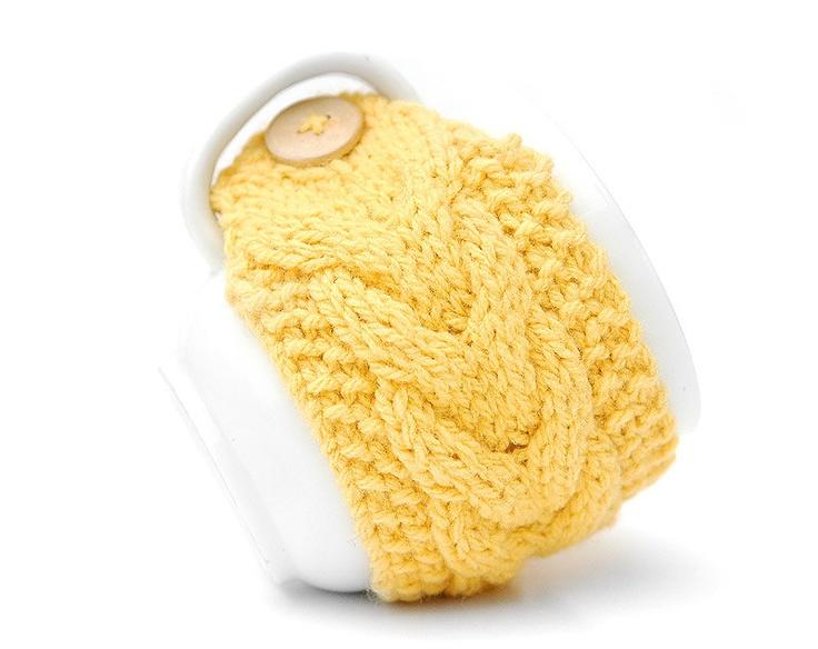 Mustard Yellow Aran Hand Knit Mug Warmer or Cup Cosy Cozy. Lemon Sunshine Shade. $8.00, via Etsy.