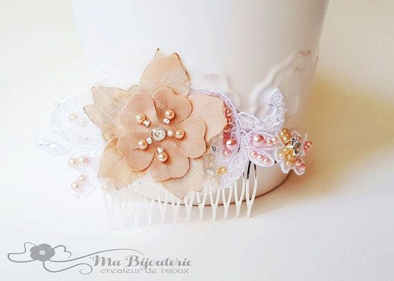 Wedding headpiece Lace bridal hair comb Lace by MaBijouterie
