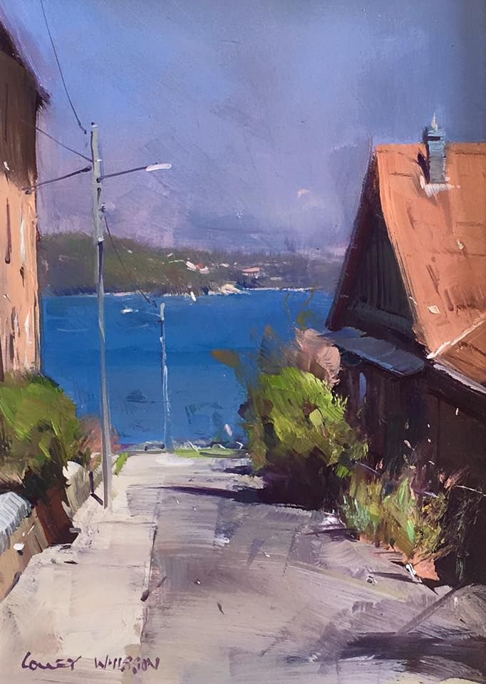 """Colley Whisson  A Quiet Street, Sydney 10"""" x 7"""" Oil"""