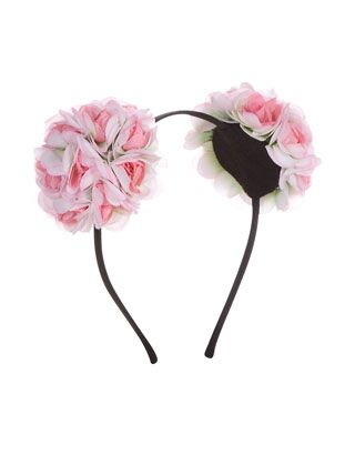 Flower Pom Pom Alice Band   Pink   Accessorize