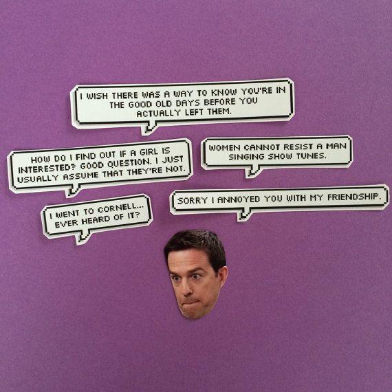 Andy Bernard Quotes Sticker Set by sassycelebs on Etsy