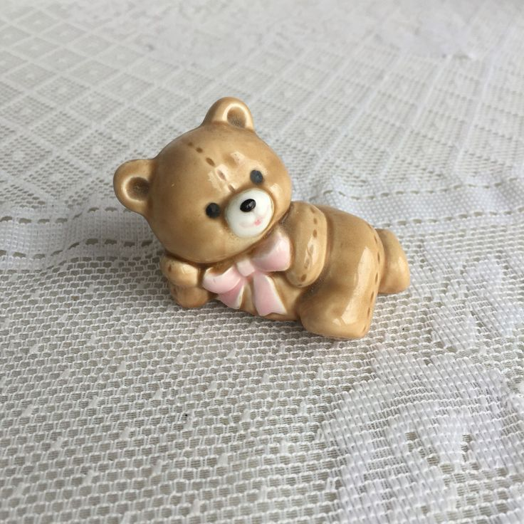 Vintage Teddy Bear Figurine by Russ Berrie / Ceramic Miniature Made in Japan by vintagepoetic on Etsy