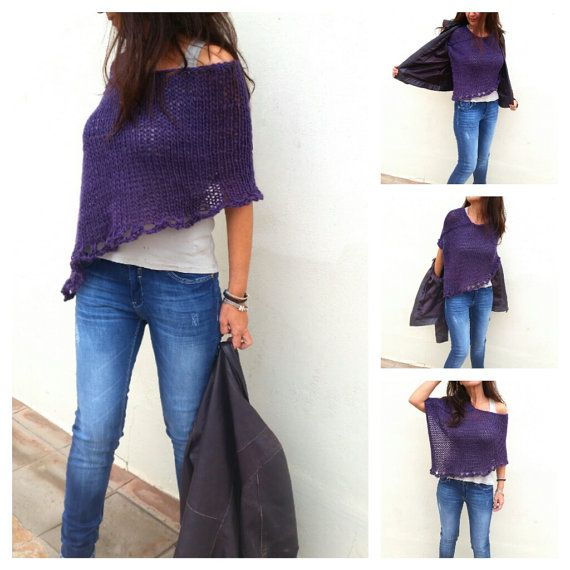 Purple knit poncho, poncho sweater, wool poncho, loose knitting, knitwear trend, sweater knit wrap, women knitwear, spring trends,knit shrug