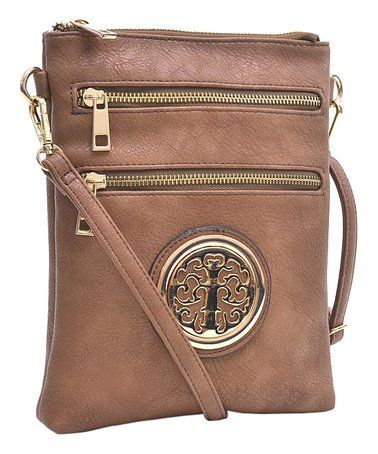 This Brown & Gold Medallion Crossbody Bag is perfect! #zulilyfinds