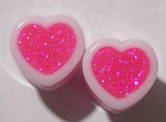 Vibe Pink Sparkle Heart plugs embedded resin filled  by GlitzGauge, $15.00