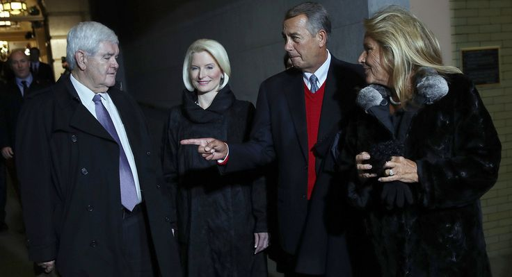 Former Speaker of the House Newt Gingrich, his wife, Callista Gingrich, former Speaker of the House John Boehner and his wife, Deborah Boehner, arrive for the presidential inauguration on the West Front of the U.S. Capitol. Getty