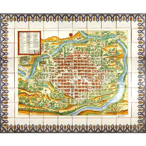 Map of Oaxaca City in talavera tiles
