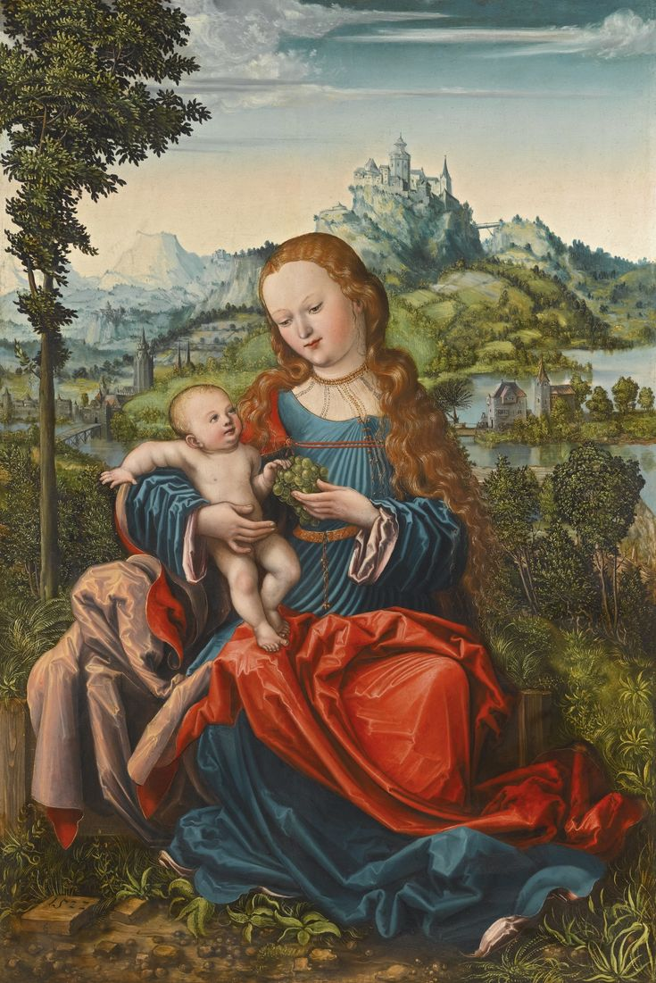 The Master of the Piasecka Johnson Madonna ACTIVE IN GERMANY CIRCA 1522 THE VIRGIN AND CHILD ON A GRASSY BANK inscribed in monogram: E or (LC?) and dated lower left: 1522 oil on panel 86 by 58.5 cm.; 33 7/8  by 23 in.