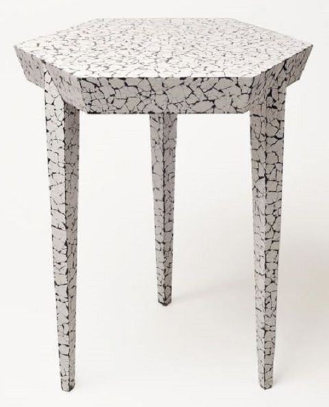 egg shell covered table