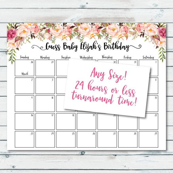 Printable Boho Floral Baby Shower Due Date Prediction Calendar. Floral Prediction Due Date Calendar. Guess Babys Due Date. This listing is for a digital file only. No physical product/item will be shipped. HOW IT WORKS: 1. Purchase the listing. 2. During checkout, leave a note in