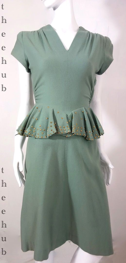 glorious green vintage 1940s high tea wool dress from thee hub