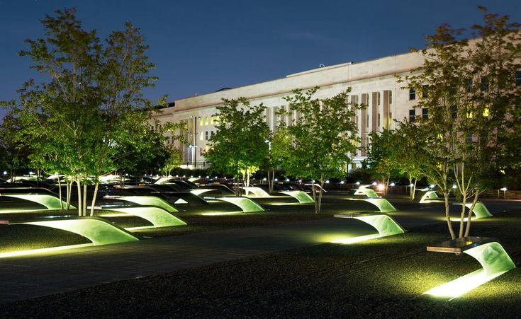 The Pentagon 9/11 Memorial, is seen August 21, 2011, in the southwest corner of The Pentagon Building. It is a permanent outdoor memorial to the 184 men, women, and children who lost their lives as victims of the attack, killed both in the building and on American Airlines Flight 77 in the September 11, 2001 attacks.