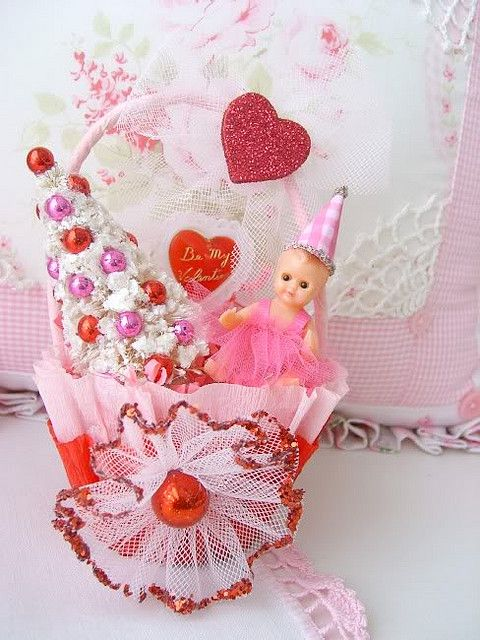 Sweet Shabby Baby Valentine Basket by sweetnshabbyroses, via Flickr