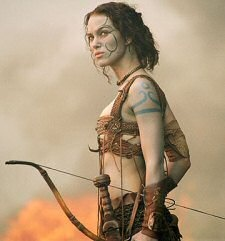 Keira Knightley is a blue-painted Guinevere in ''King Arthur.'' I want to look like this, do archery like this, & overall be a badass like Keira Knightly from King Arthur!