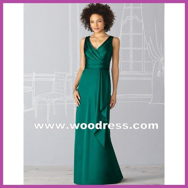 A-Line V-Neckline Long Stain Green Bridesmaid Dresses Style 6625