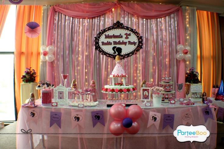 Backdrop & Cake/Candy Table for a Barbie Themed Birthday Party