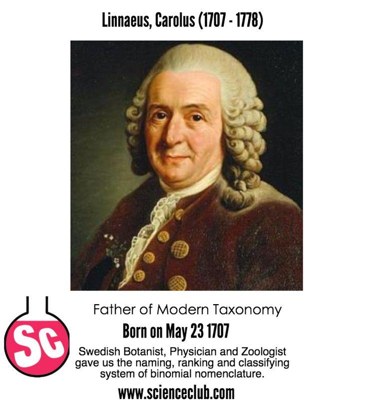 May 23 rd: Carl Linnaeus's birthday - http://www.scienceclub.com