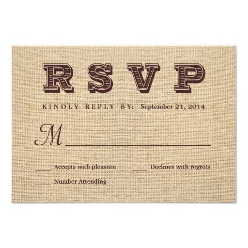 =>quality product          Burlap RSVP Rustic Wedding Reply Custom Invitations           Burlap RSVP Rustic Wedding Reply Custom Invitations in each seller & make purchase online for cheap. Choose the best price and best promotion as you thing Secure Checkout you can trust Buy bestDeals      ...Cleck Hot Deals >>> http://www.zazzle.com/burlap_rsvp_rustic_wedding_reply_invitation-161813318159398232?rf=238627982471231924&zbar=1&tc=terrest