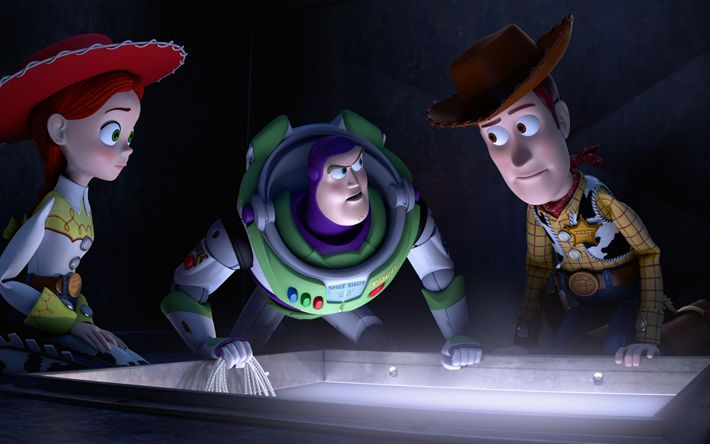 Download wallpapers Toy Story 2, Characters, Jessie, Buzz Lightyear, Sheriff Woody