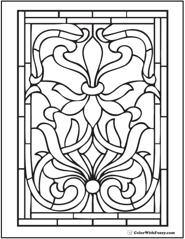 complex stained glass coloring pages - photo#8