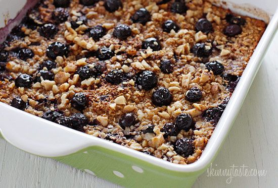 Baked Oatmeal with Blueberries and Bananas | Skinnytaste