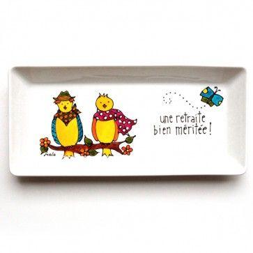 Assiette décorative • Une retraite bien méritée ! (oiseaux) Peinte à la main par l'artiste Isabelle Malo du Québec, Canada