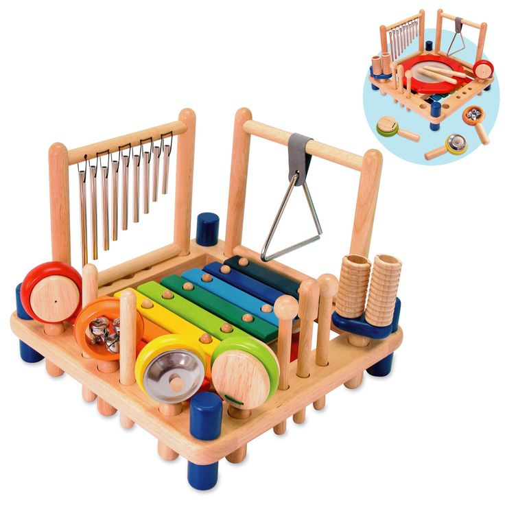 Artiwood Melody Music Table Set - $95  An activity toy comes with 10 music instruments : xylophone, drum, tubular chimes, triangle, cymbal, bells, maracas, castanet, double guiro, and pair of rhythm sticks plus 2 strikers and 1 scraper.  3 yrs+