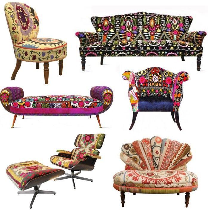 Boho Möbel,Accessoires und Designideen Hier präsentieren ich euch einige Möbel, Accessoires und Deko im Boho oder Bohemian-Stil. In der Modewelt wird dieser Stil auch gerne Boho-Chic genannt. Die Markenzeichen des Boho sind viele bunte Farben und Verzierungen. Hier nun ein paar tolle bunte Möbel und Design Ideen im Boho-Stil. Sessel mit Armlehnen  Handgemachter Sessel mit Armlehnen im Retrolook mit einer tollen Kombination aus verschiedenen Farben. Thai Hmong, Vintage Suzani…