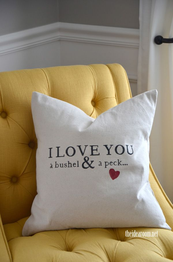 I love you a bushel and a peck pillow how-to - so cute!