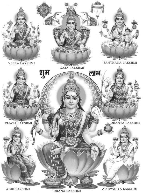 Image result for ashta laxmi images with name | god | Goddess
