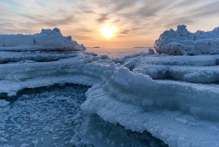 Frozen beach in Yyteri, Finland.