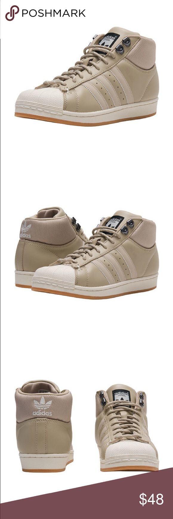 NWT ADIDAS PRO MODEL Beige-Khaki - women. size 6.5 NWT ADIDAS PRO MODEL Beige-Khaki - women size 6.5. High top. Look very cool. Will fit 6 and 7 also adidas Shoes Ankle Boots & Booties