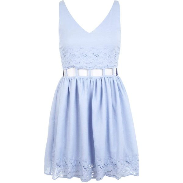 Miss Selfridge Blue cutout waist dress found on Polyvore