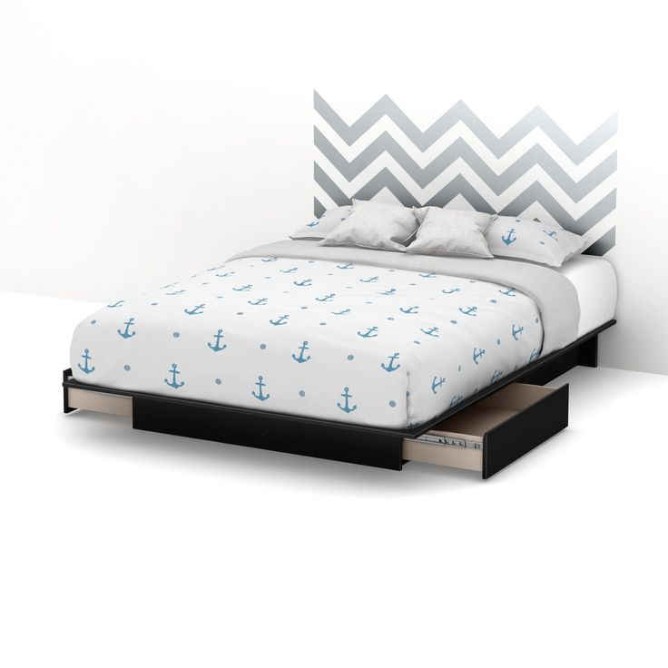 South Shore Step One Storage Platform Bed with Gray Chevron Headboard Ottograff Wall Decal