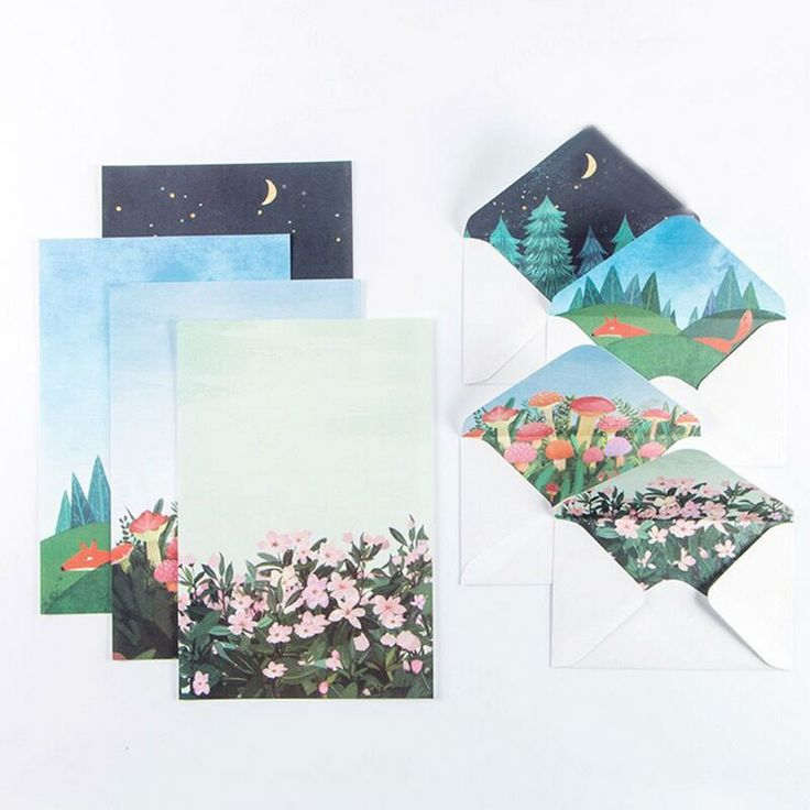 Kreatif Pulau pemandangan 6 lembar kertas surat + 3 pcs amplop dengan stiker Surat pad Set/set kertas tulis kantor & Perlengkapan Sekolah