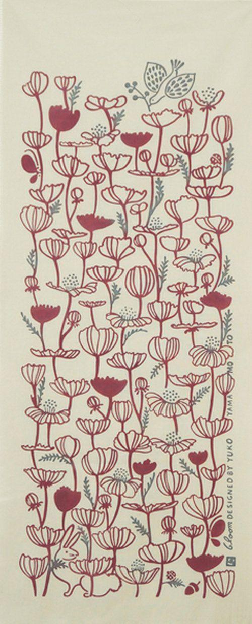 Japanese Tenugui Cotton Fabric, Botanical Flower, Hand Dyed Floral Fabric, Rabbit & Bird, Wall Hanging Tapestry, Home Decor Wall Art, JapanLovelyCrafts