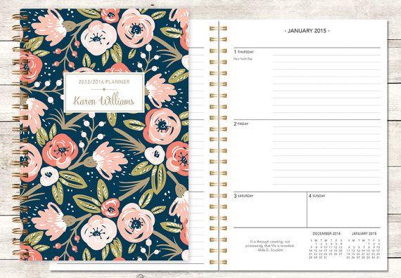 2015 planner | 2015-2016 calendar | custom weekly student planner | personalized planner agenda daytimer | pink navy gold floral pattern