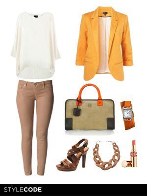 Look con blazer naranja: Con Blazers, Outfits Trabajo, Blazers Naranja, Outfits Con Naranja