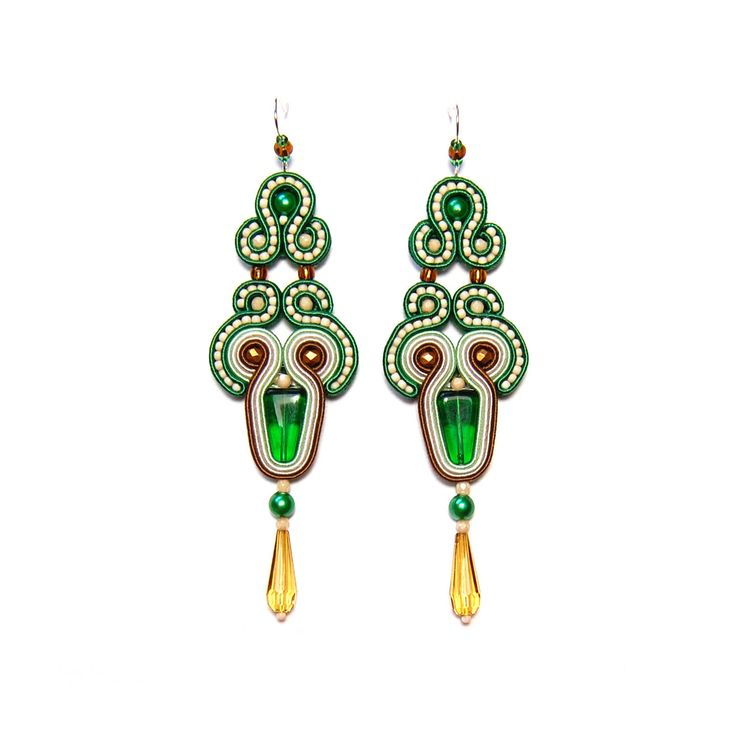 Soutache earrings green brown beige jewelry handmade shop gift for sale to buy orecchini pendientes oorbellen Ohrringe brincos örhängen by SoutacheFlowOn on Etsy