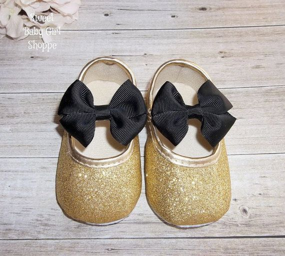Gold Baby Shoes  Black and Gold Baby Outfit by SweetBabyGirlShoppe