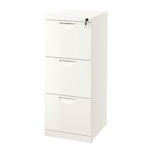 IKEA - ERIK, Aktenschrank, , Schubladen für Hängemappen erleichtern das Sortieren und Aufbewahren von Papieren.Alle drei Schubladen sind abschließbar.Ausziehsperre verhindert, dass die Schubladen komplett herausgezogen werden.