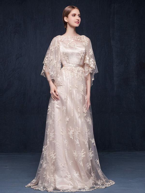 ファッション袖付き高級刺繍の綺麗目ロングドレス イブニングドレスは格安とか人気のものなどいろいろな種類があり、ここで。一番のサービスと最高品質の商品Doresuweで提供しています。